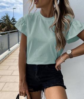 Γυναικεία μπλούζα με εντυπωσιακό μανίκι 5094 μέντα