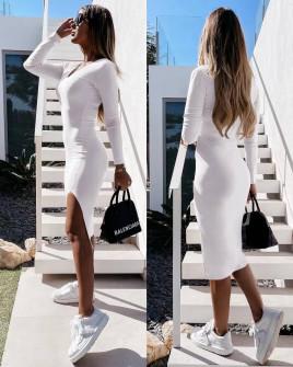 Γυναικείο εφαρμοστό φόρεμα 5578 άσπρο