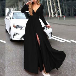 Γυναικείο μακρύ φόρεμα 37421 μαύρο