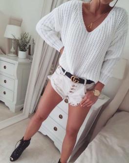Γυναικείο πουλόβερ με βαθύ ντεκολτέ 00721 άσπρο