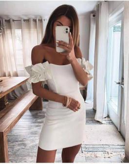 Γυναικείο εντυπωσιακό φόρεμα 6211 άσπρο