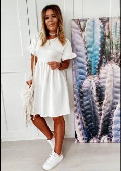 Γυναικείο χαλαρό φόρεμα 14676 άσπρο