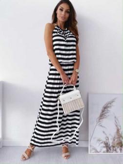 Γυναικείο μακρύ φόρεμα ριγέ 12282 μαύρο