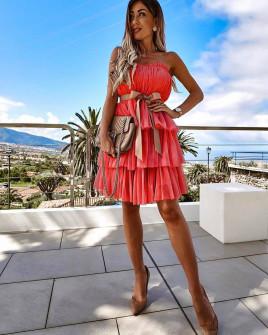 Γυναικείο φόρεμα τούλι 3581 κόκκινο