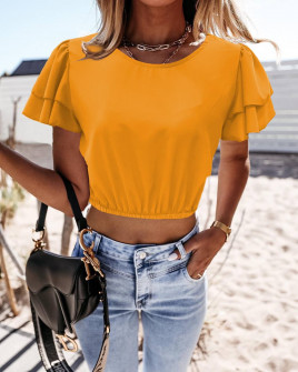 Γυναικεία κοντή μπλούζα 21782 κίτρινη