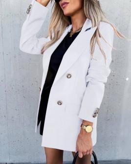 Γυναικείο μακρύ σακάκι με φόδρα 6075 άσπρο