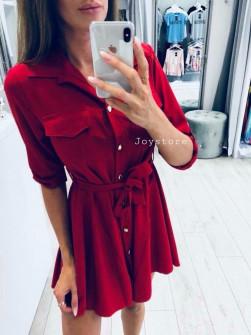 Γυναικείο χαλαρό φόρεμα με ζώνη 2973 κόκκινο