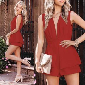 Γυναικεία κοντή ολόσωμη φόρμα 3619 κόκκινη