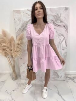 Γυναικείο φόρεμα πουά 21226 ροζ