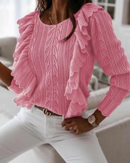 Γυναικείο πουλόβερ με εντυπωσιακό μανίκι 8801 ροζ