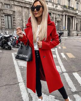 Γυναικείο μακρύ παλτό με φερμουάρ εσωτερικό και φόδρα 6072 κόκκινο