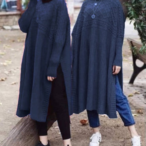 Γυναικείο μακρύ μπλουζοφόρεμα 09845 σκούρο μπλε