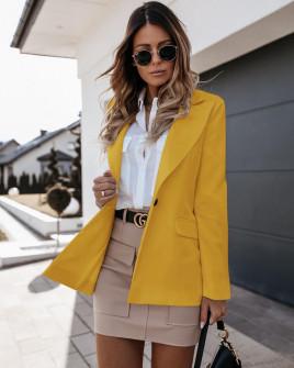 Γυναικείο σακάκι με φόδρα 5256 κίτρινο