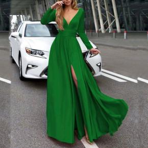 Γυναικείο μακρύ φόρεμα 37421 πράσινο