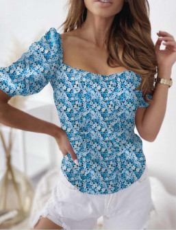 Γυναικεία μπλούζα φλοράλ 8386 μπλε