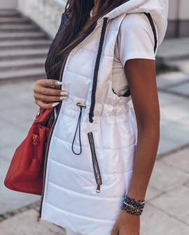 Γυναικείο αμάνικο μπουφάν με λάστιχο στη μέση 81980 άσπρο
