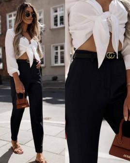 Γυναικείο παντελόνι με ζώνη 5887 μαύρο