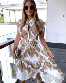 Дамска рокля с принт 5082 бежова