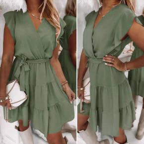 Γυναικείο φόρεμα κρουαζέ 5708 χακί