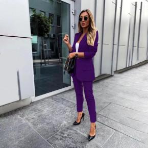 Γυναικείο σετ σακάκι και παντελόνι 3998 μωβ