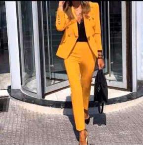 Γυναικείο σετ σακάκι και παντελόνι 1928 κίτρινο