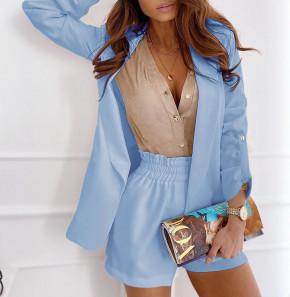 Γυναικείο σετ σακάκι και παντελόνι 5045 γαλάζιο