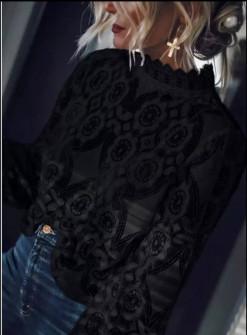 Γυναικεία δαντελένια μπλούζα 21040 μαύρη