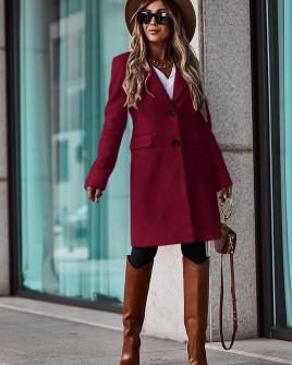 Γυναικείο κομψό παλτό με φόδρα 5355 μπορντό