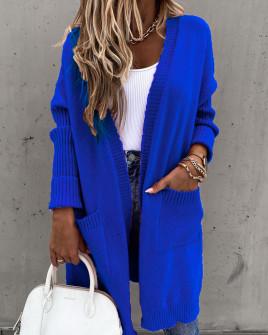 Γυναικεία ζακέτα με τσέπες 2719 μπλε