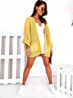 Γυναικεία μονόχρωμη ζακέτα 88070 κίτρινη