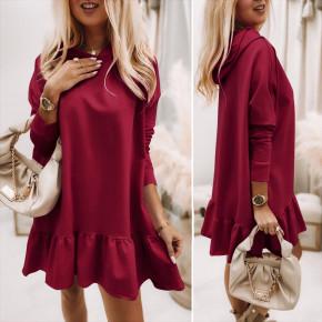 Γυναικείο φόρεμα με κουκούλα 5968 μπορντό