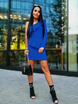 Γυναικείο φόρεμα με ένα μανίκι 2022 μπλε ρουά