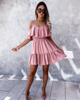 Γυναικείο κοντό κλος φόρεμα 5700 ροζ
