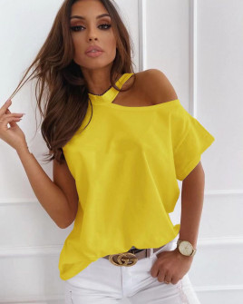Γυναικεία μπλούζα με έναν ώμο έξω 5030 κίτρινη