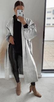 Παλτό χωρίς φόδρα 20911 γκρι