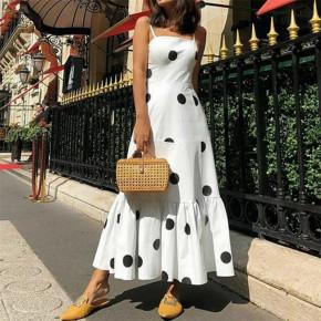 Γυναικείο μακρύ φόρεμα πουά 5061 άσπρο