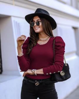 Γυναικεία μπλούζα με χρυσά κουμπιά 5375 μπορντό