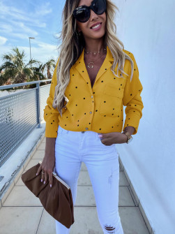 Γυναικείο πουκάμισο πουά 5242 κίτρινο