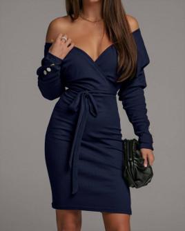 Γυναικείο φόρεμα κρουαζέ 5977 μπλε