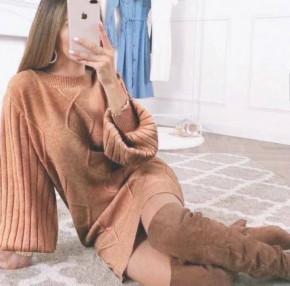 Γυναικείο πλεκτό φόρεμα 00039 καμηλό