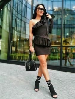 Γυναικείο φόρεμα με ένα μανίκι 2022 μαύρο