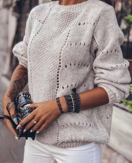 Γυναικείο εντυπωσιακό πουλόβερ 3324 μπεζ