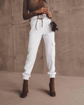 Γυναικείο παντελόνι με ζώνη 5634 άσπρο