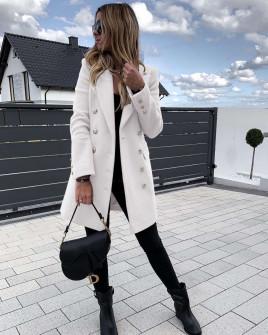 Γυναικείο παλτό με κουμπιά από τις δύο πλευρές και φόδρα 3828 άσπρο