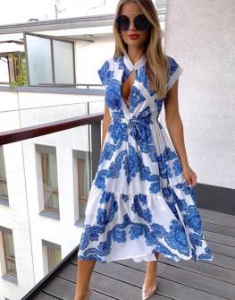 Дамска рокля с принт 5082 синя