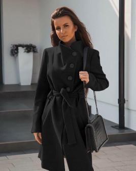 Γυναικείο παλτό με κουμπιά και ζώνη 18915 μαύρο