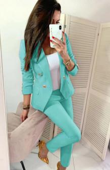 Γυναικείο σετ σακάκι και παντελόνι 2637 μέντα