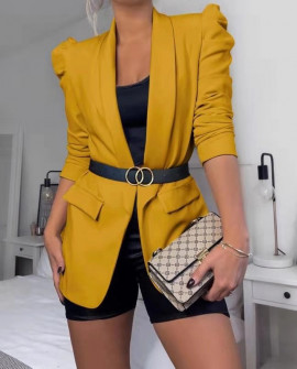 Γυναικείο κομψό σακάκι 3969 μουσταρδί