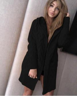 Γυναικεία ζακέτα με κουκούλα 277 μαύρη
