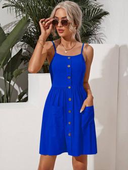 Γυναικείο φόρεμα με κουμπιά 5799 μπλε